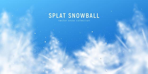 Realistische achtergrond met wazige sneeuwvlokken