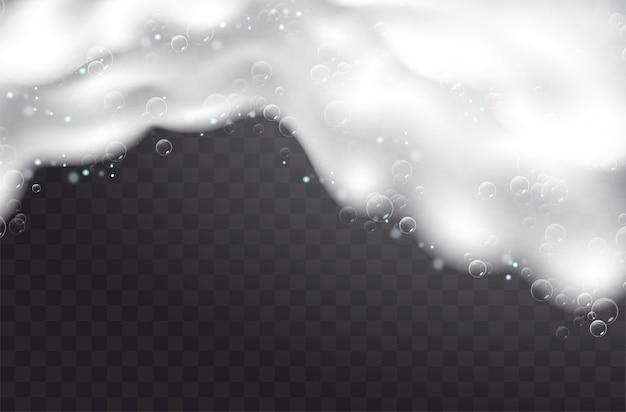 Realistische achtergrond met zeepschuim. bad wasgoed witte bubbels, shampoo zeep schoon borrelende glanzende wassen hygiëne wasmiddel. geruite transparante achtergrond