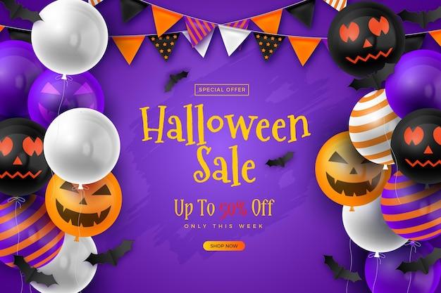 Realistische achtergrond voor halloween-verkoop