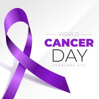 Realistische achtergrond werelddag voor kanker met lint