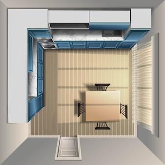 Realistische advertentie moderne keuken in bovenaanzicht met groot raam en ingebouwde oven en spoelbak.