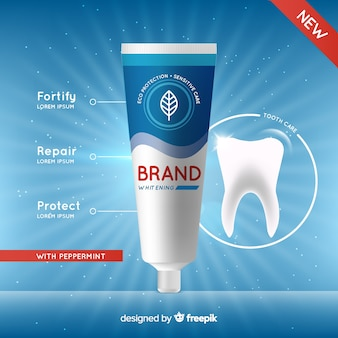Realistische advertentie van verse tandpasta