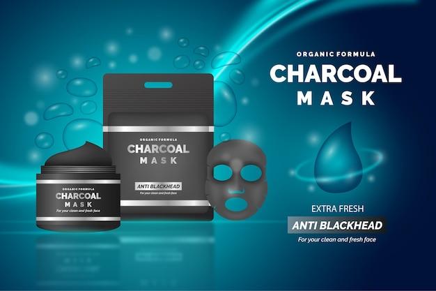 Realistische advertentie voor houtskoolbladmasker
