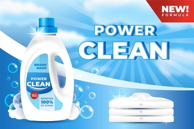 Realistische advertentie voor schoonmaakproducten