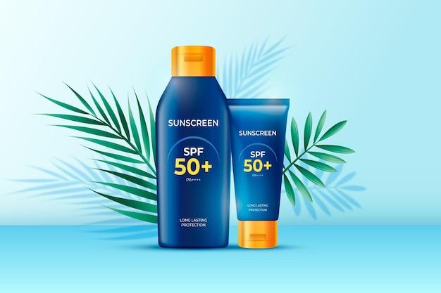 Realistische advertentie voor zonnebrandcrème