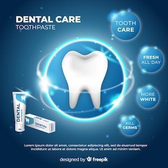 Realistische advertentieadvertentie voor verse tandpasta