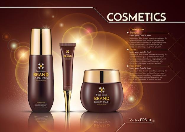 Realistische advertentiesjabloon voor cosmetica