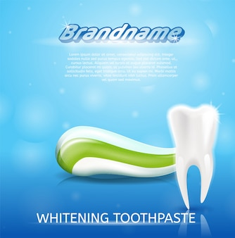 Realistische afbeelding gezonde tand en tandpasta in 3d