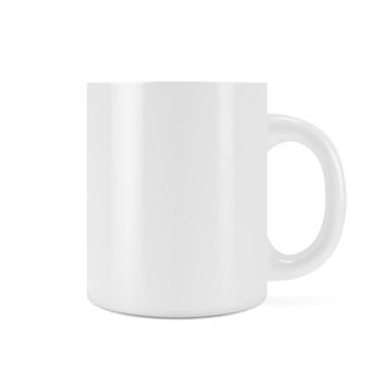 Realistische afbeelding van een schone mok-beker voor een drankje. witte lege beker.