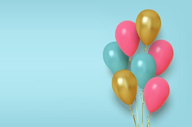 Realistische afbeelding van roze, blauwe en gouden ballonnen.