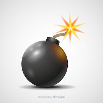 Realistische afgeronde bom met lont