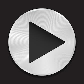 Realistische afspeelknop metalen pictogram reflecterende stalen interface-tool