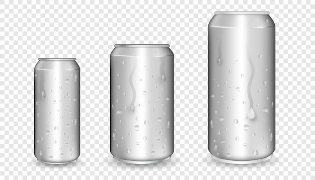 Realistische aluminium blikken. metalen blikken. aluminium blikken leeg model.