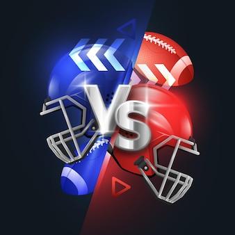 Realistische american football versus vs-achtergrond