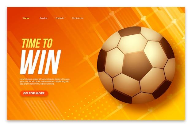 Realistische amerika cup-bestemmingspagina-sjabloon met voetbal