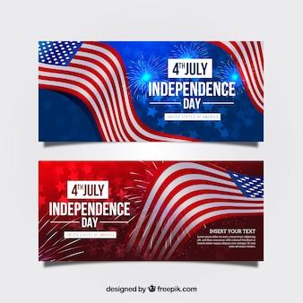 Realistische amerikaanse onafhankelijkheidsdag banners