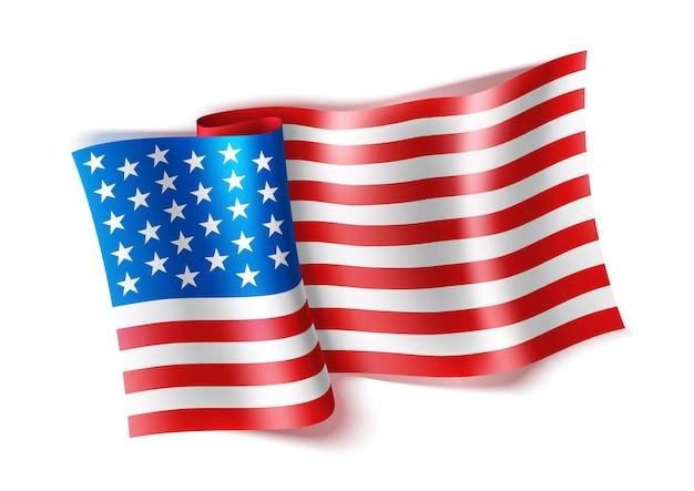 Realistische amerikaanse vlag zwaaide nationaal vs-symbool met sterren en strepen 4 juli