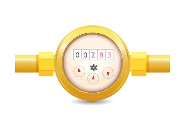 Realistische analoge watermeter vectorillustratie. sanitaire uitrusting