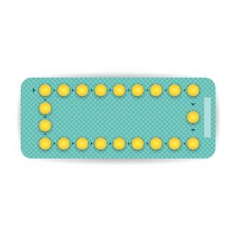 Realistische anticonceptiepilblaar. drug pack. apotheek concept. vector illustratie.