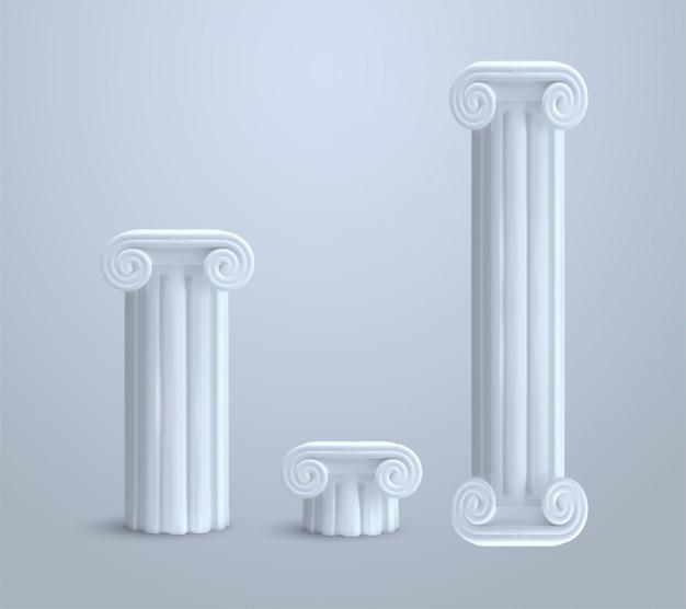 Realistische antieke ionische kolom die op witte illustratie wordt geïsoleerd als achtergrond