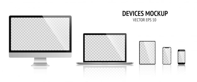 Realistische apparaten set monitor, laptop, tablet, smartphone donkergrijze kleur