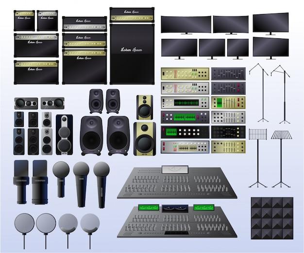 Realistische apparatuur voor een opnamestudio.