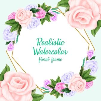 Realistische aquarel bloemen frame achtergrond