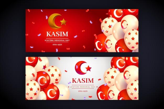 Realistische ataturk herdenkingsdag horizontale banners set
