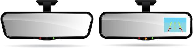 Realistische auto auto achteruitkijkspiegel met ingebouwde monitor en parkeerhulplijnen eps