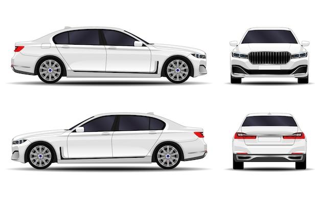 Realistische auto. sedan. vooraanzicht; zijaanzicht; achteraanzicht.
