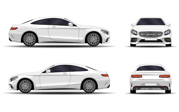 Realistische auto. sport coupe. vooraanzicht; zijaanzicht; achteraanzicht.