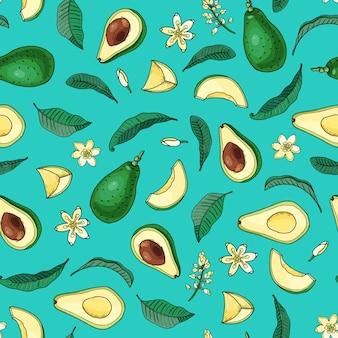 Realistische avocado. naadloze patroon. zomer exotisch voedsel. cartoon geheel, half fruit met blad, bloem. hand getrokken illustratie. natuurlijke biologische groente. schets op turkooizen achtergrond.