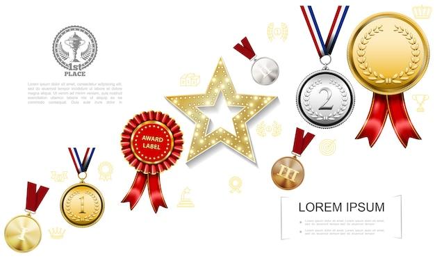 Realistische awards kleurrijke sjabloon