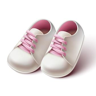 Realistische baby girl kinderwagen schoenen.
