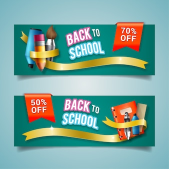 Realistische back to school-banners