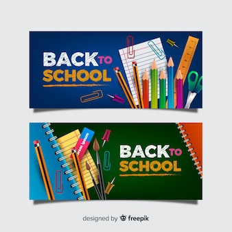 Realistische back-to-school banners