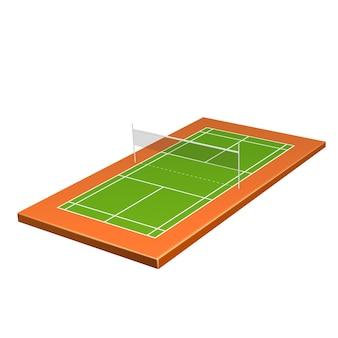 Realistische badmintonspeeltuin met net