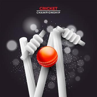 Realistische bal geraakt met wicket stronken