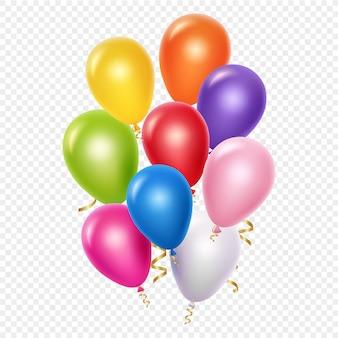 Realistische ballonnen achtergrond sjabloon. ballonnen en gouden linten op transparante achtergrond