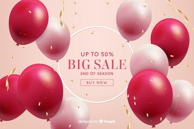 Realistische ballonnen drijvende verkoop achtergrond