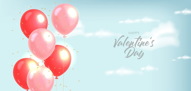 Realistische ballonnen en gouden confetti, blauwe achtergrond, heldere hemel, realistische wolken houden van decoratie, valentijnsdag, romantisch