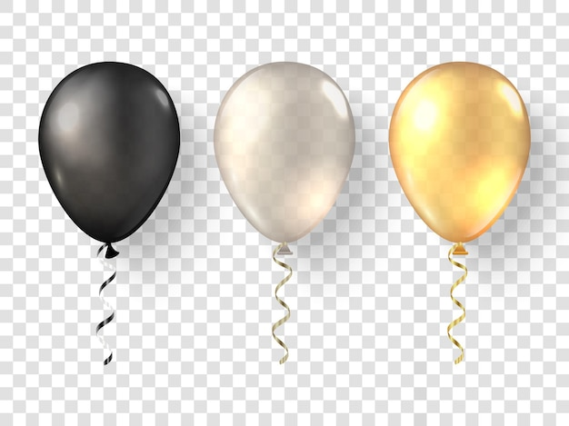 Realistische ballonnen op transparante achtergrond