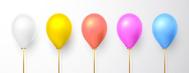 Realistische ballonnen op witte achtergrond met schaduw