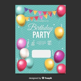 Realistische ballonnen verjaardag uitnodiging sjabloon