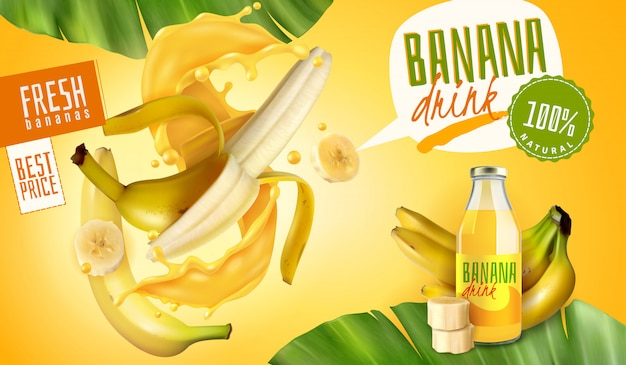 Realistische bananensapverpakkingsadvertenties met tekstballonnen en bewerkbare tekst met fruit en bladeren