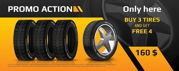 Realistische bandenbanner. autowielreparatie en autorubberreclameflyer, auto-informatiebrochure met aanbieding voor de verkoop van banden. vector afbeelding kwaliteit auto service promo poster