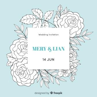 Realistische banner bruiloft uitnodiging