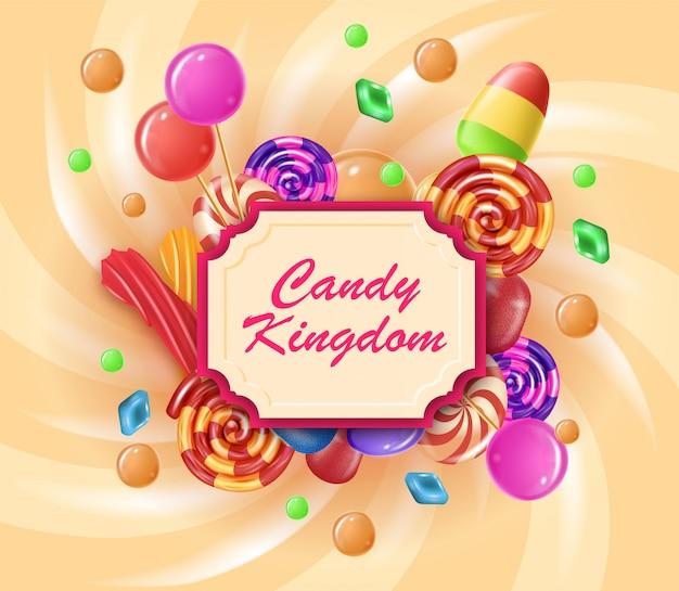 Realistische banner geschreven in frame candy kingdom.