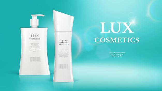 Realistische banner van luxe cosmetische flessen