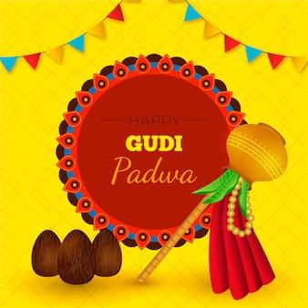 Realistische banner voor de viering van gudi padwa